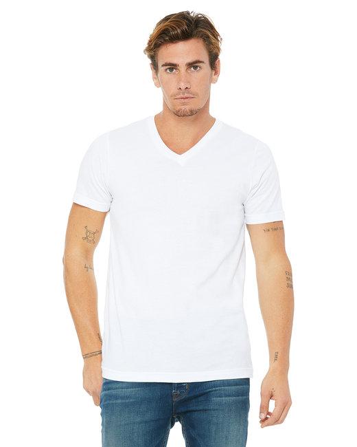 Bella + Canvas Unisex Jersey Short-Sleeve V-Neck T-Shirt - White