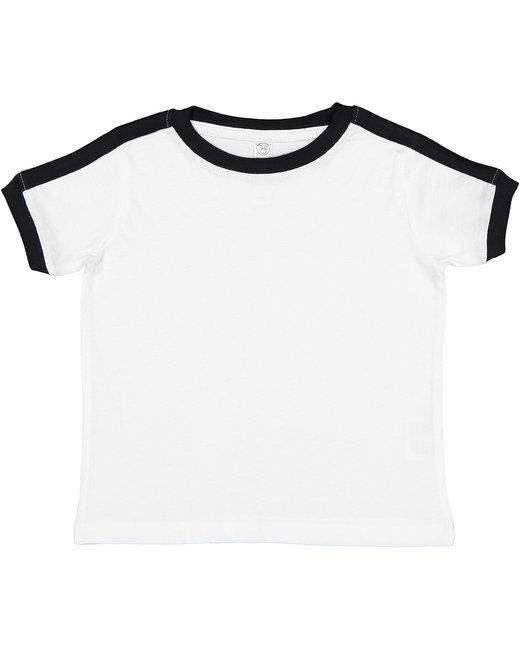 Rabbit Skins Toddler Retro Ringer T-Shirt - White/Black
