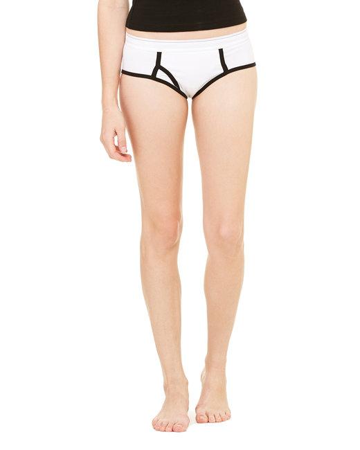Bella + Canvas Ladies' Cotton/Spandex Boyfriend Brief - White/ Black