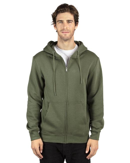 Threadfast Apparel Unisex Ultimate Fleece Full-Zip Hooded Sweatshirt - Army