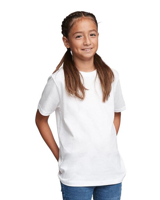 Next Level Youth Boys Cotton Crew - White