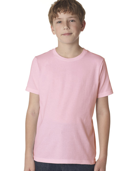 Next Level Youth Boys Cotton Crew - Light Pink
