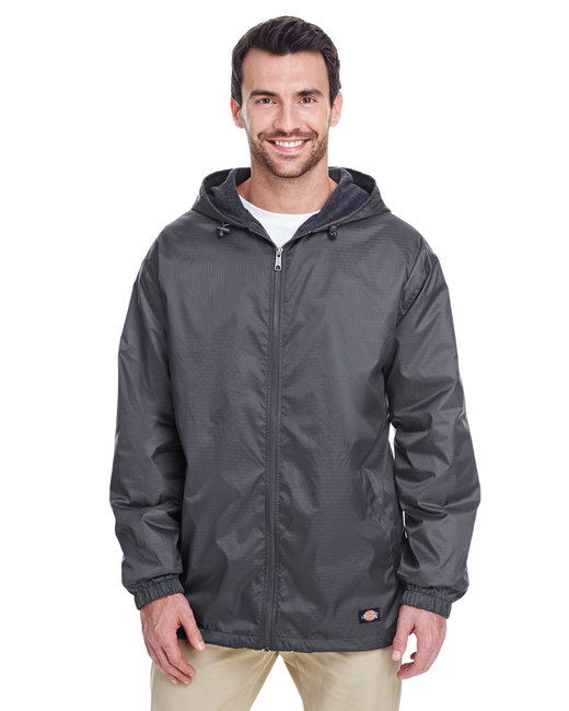 Dickies Men's Fleece-Lined Hooded Nylon Jacket - Charcoal
