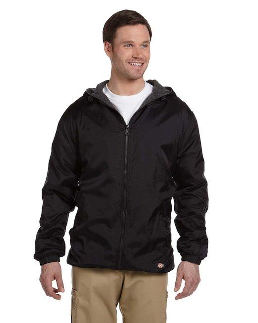 Dickies Men's Fleece-Lined Hooded Nylon Jacket - Black