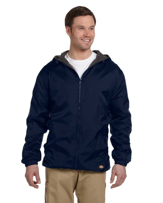 Dickies Men's Fleece-Lined Hooded Nylon Jacket - Dark Navy