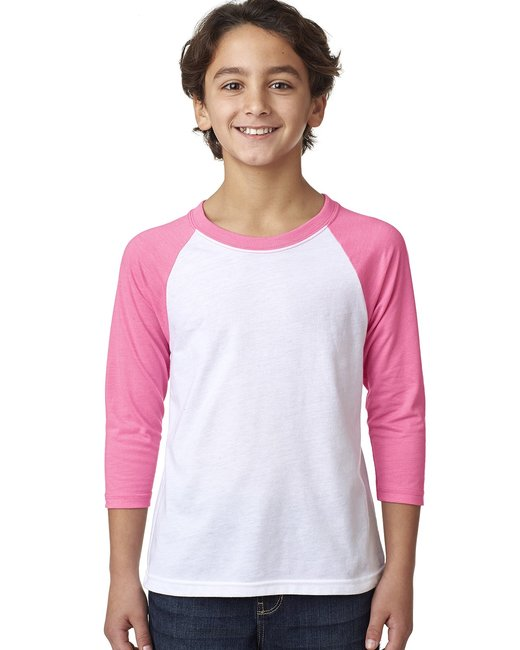 Next Level Youth CVC 3/4-Sleeve Raglan - Hot Pink/ White