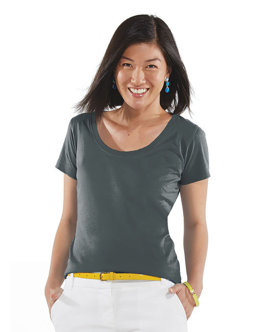 LAT Ladies'' Scoop Neck T-Shirt - Charcoal