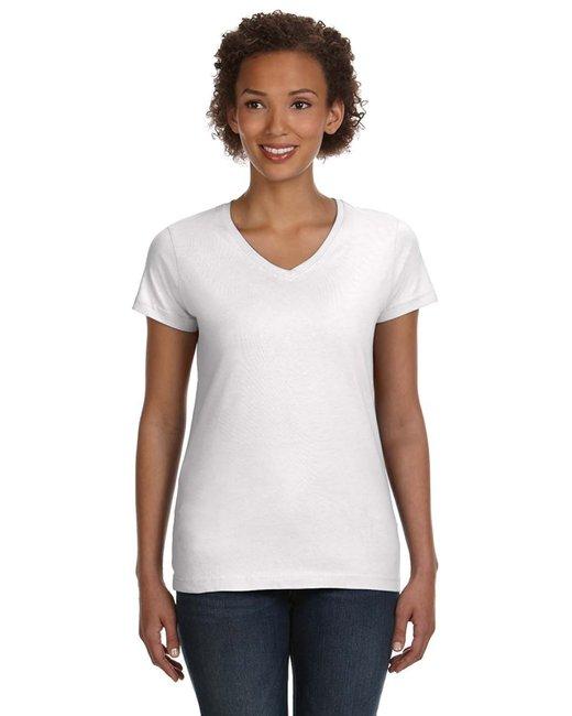LAT Ladies' V-Neck Fine Jersey T-Shirt - White