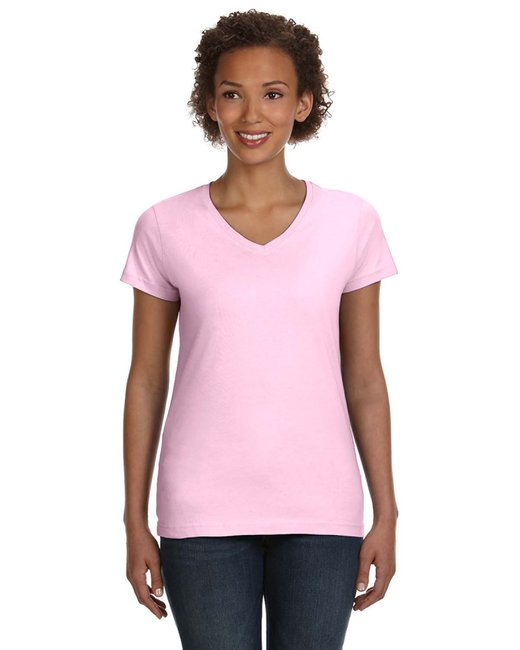 LAT Ladies' V-Neck Fine Jersey T-Shirt - Pink