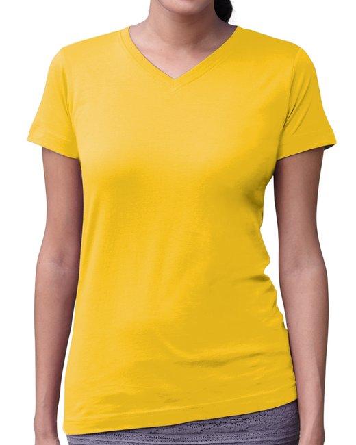 LAT Ladies' V-Neck Fine Jersey T-Shirt - Yellow