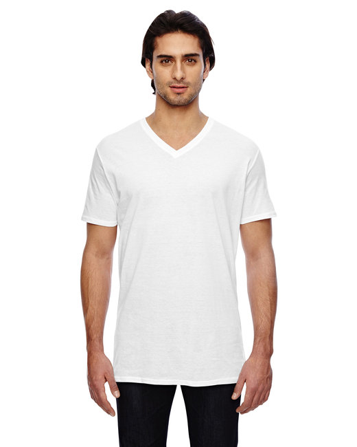 Anvil Adult Featherweight V-Neck T-Shirt - White