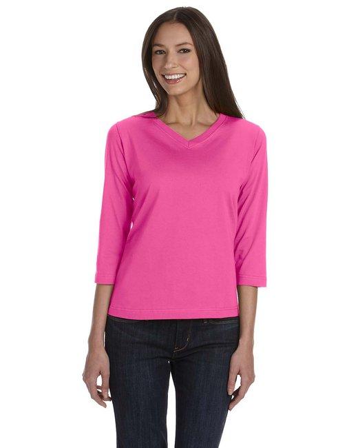 3577 LAT Ladies' Combed Ringspun Jersey V-Neck 3/4-Sleeve T-Shirt