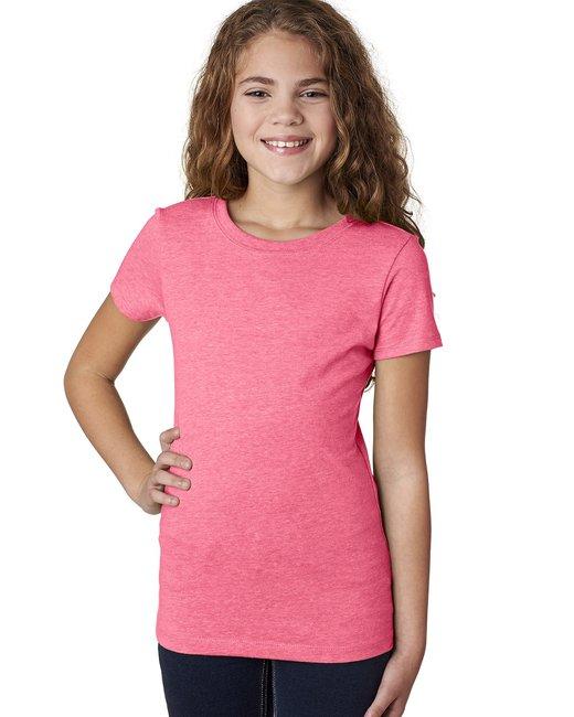Next Level Youth Princess CVC T-Shirt - Neon Hthr Pink