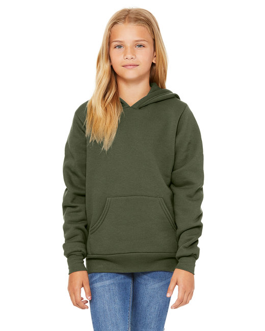 3719Y Bella + Canvas Youth Sponge Fleece Pullover Hooded Sweatshirt