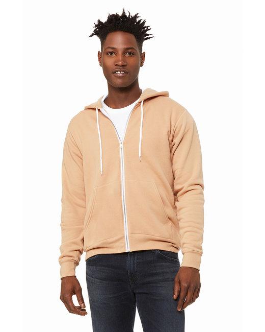 Bella + Canvas Unisex Poly-Cotton Fleece Full-Zip Hooded Sweatshirt - Heathr Sand Dune