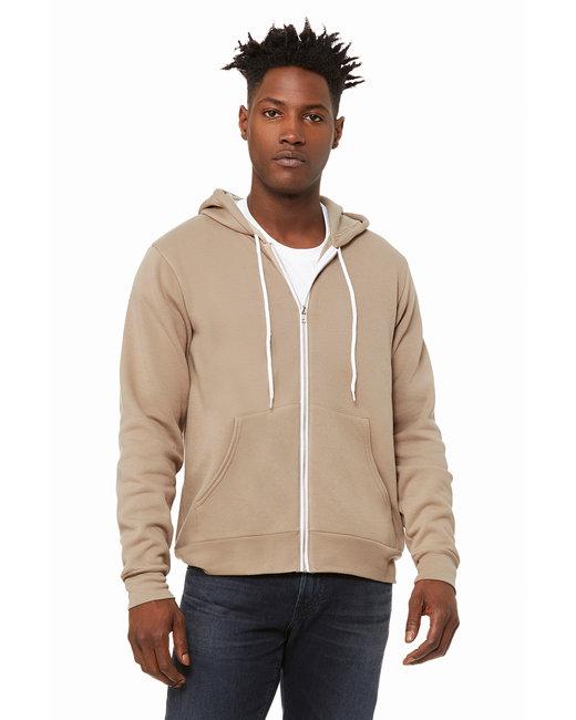 Bella + Canvas Unisex Poly-Cotton Fleece Full-Zip Hooded Sweatshirt - Tan