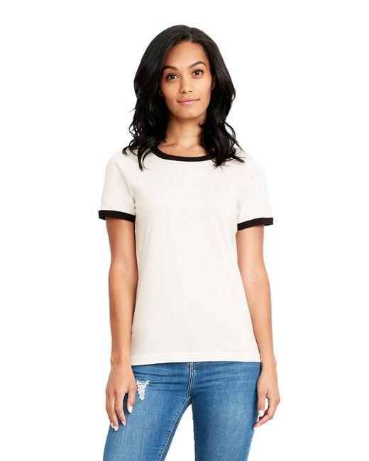 Next Level Ladies' Ringer T-Shirt - White/ Black