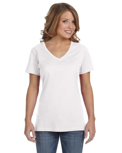 Anvil Ladies' Featherweight V-Neck T-Shirt - White