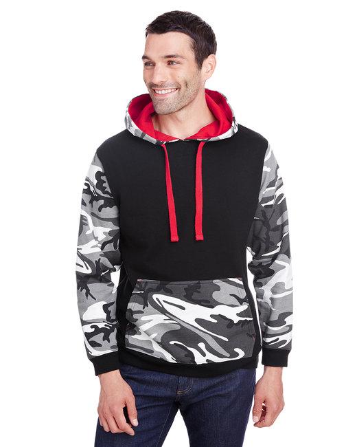 Code Five Men's Fashion Camo Hooded Sweatshirt - Blk/ Urbn Wd/ Rd