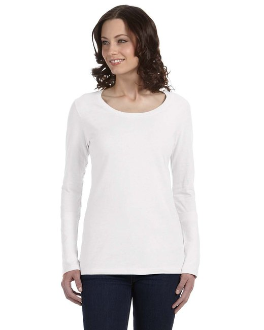 Anvil Ladies' Featherweight Long-Sleeve Scoop T-Shirt - White