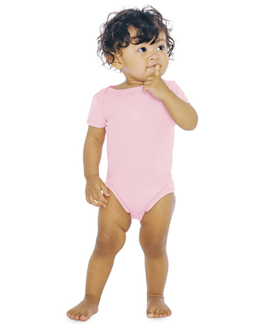 American Apparel Infant Baby Rib Short-Sleeve One-Piece - Pink
