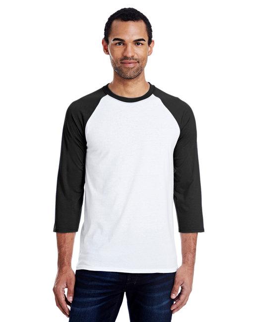 Hanes Men's 4.5 oz., 60/40 Ringspun Cotton/Polyester X-Temp® Baseball T-Shirt - White/Black
