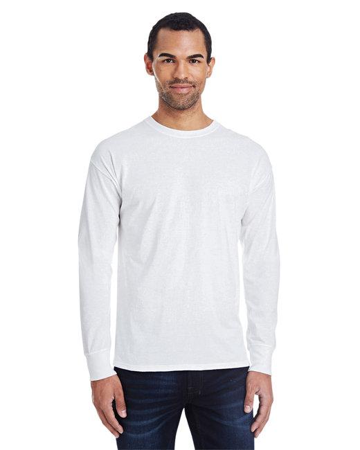 Hanes Men's 4.5 oz., 60/40 Ringspun Cotton/Polyester X-Temp® Long-Sleeve T-Shirt - White