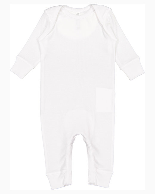Rabbit Skins Infant Baby Rib Coverall - White