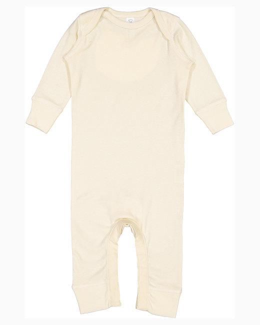 Rabbit Skins Infant Baby Rib Coverall - Natural