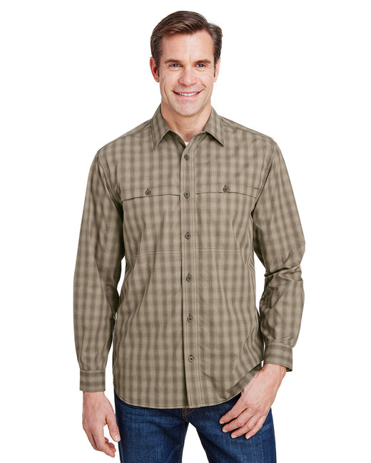 Dri Duck Yarn-Dyed Poplin Paseo Plaid Shirt - Khaki