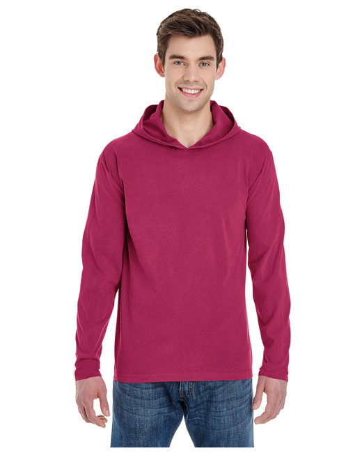 Comfort Colors Adult Heavyweight RS Long-Sleeve Hooded T-Shirt - Crimson