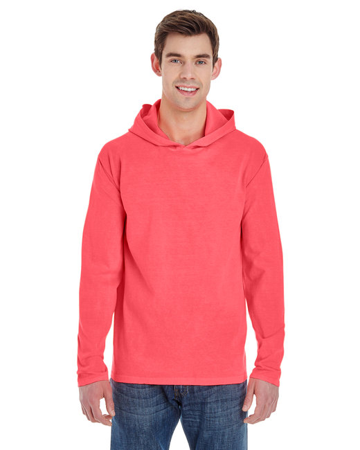 Comfort Colors Adult Heavyweight RS Long-Sleeve Hooded T-Shirt - Neon Red Orange