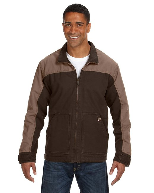 Dri Duck Men's 100% Cotton 12oz Canvas/3oz Polyfill Insulation Tall Horizon Jacket - Tobacco
