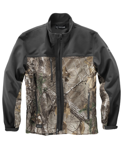 Dri Duck Men's 90% Polyester/10% Spandex Water Resistant Softshell Tall Motion Jacket - Realtree Extra