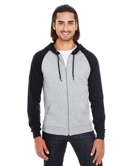 American Apparel Unisex California Fleece Zip Hoodie - Hthr Grey/ Black