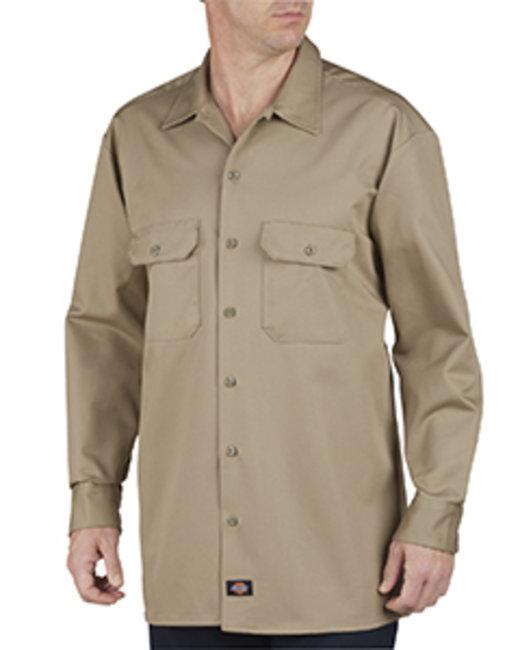 Dickies Unisex Heavyweight Cotton Long-Sleeve Shirt - Khaki