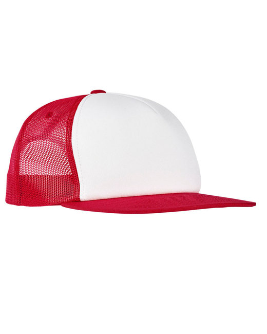 Yupoong Foam Trucker with White Front Snapback - Red/ White/ Red