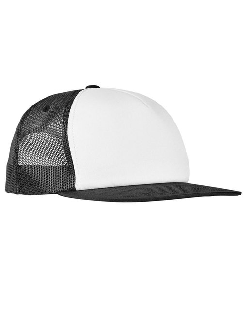 Yupoong Foam Trucker with White Front Snapback - Black/ Wht/ Blk