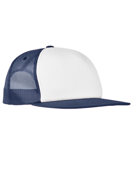 Yupoong Foam Trucker with White Front Snapback - Navy/ Wht/ Navy