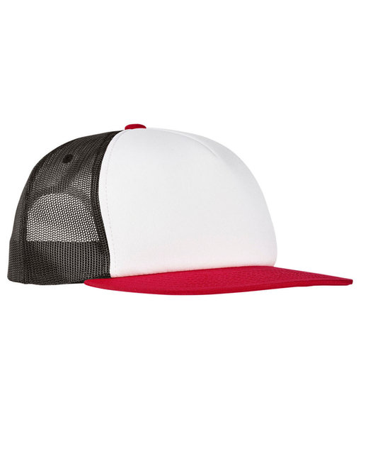 Yupoong Foam Trucker with White Front Snapback - Red/ White/ Blk