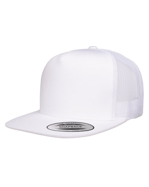 Yupoong Adult 5-Panel Classic Trucker Cap - White