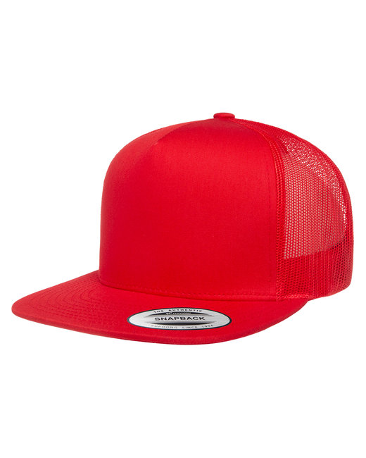 Yupoong Adult 5-Panel Classic Trucker Cap - Red
