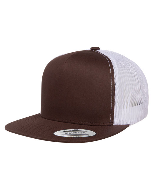Yupoong Adult 5-Panel Classic Trucker Cap - Brown/ White