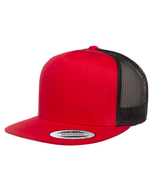 Yupoong Adult 5-Panel Classic Trucker Cap - Red/ Black