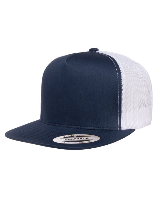 Yupoong Adult 5-Panel Classic Trucker Cap - Navy/ White