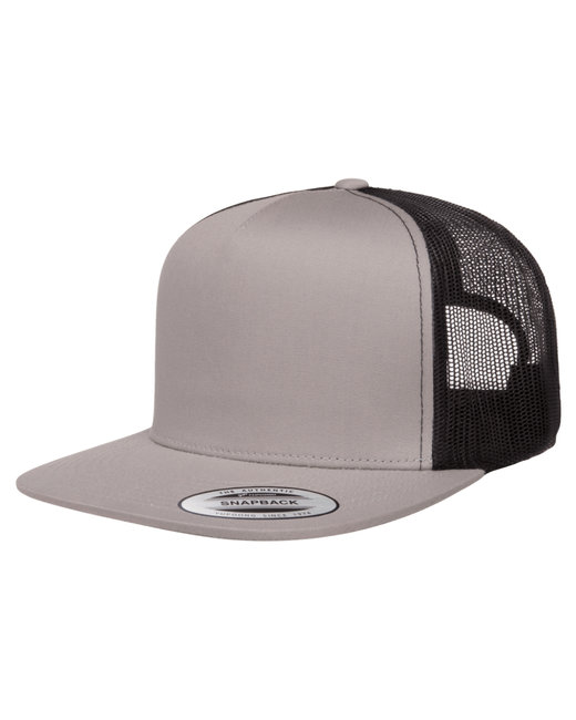 Yupoong Adult 5-Panel Classic Trucker Cap - Silver/ Black