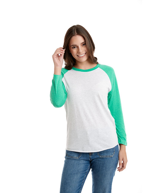 Next Level Unisex Triblend 3/4-Sleeve Raglan - Envy/ Hthr Wht