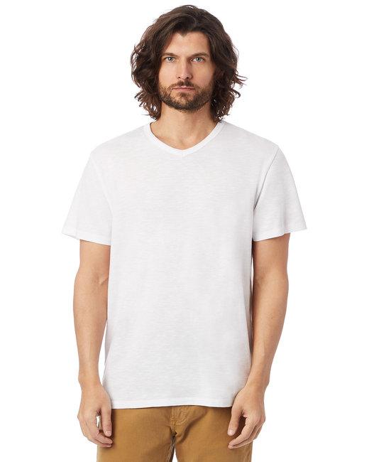 Alternative Adult Weathered Slub V-Neck T-Shirt - White