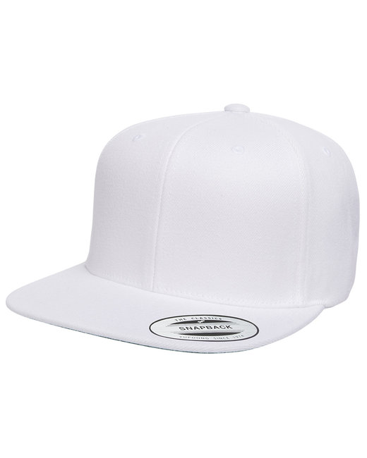 Yupoong Adult 6-Panel Structured Flat Visor Classic Snapback - White