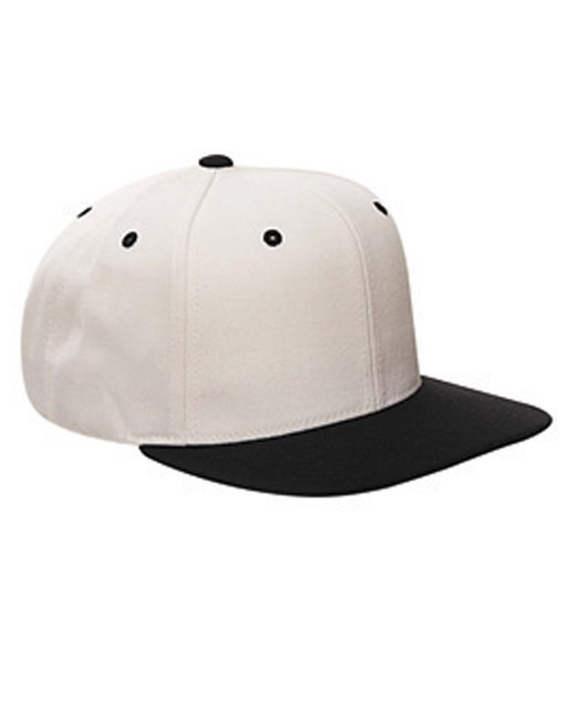 Yupoong Adult 6-Panel Structured Flat Visor Classic Snapback - Natural/ Black